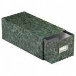 Pendaflex Reinforced Board 5 x 8 Card File with Lift Off Cover, Green Marble