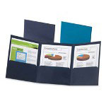 Esselte Tri-fold Pocket Folder, Blue, Each