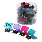 "Baumgarten's Tab Binder Clip, Rectangle, F/Color Coding, 3/4"" 4/PK, Assorted"