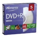 Memorex DVD+R, 16X, 4.7GB, Branded with Slim Jewel Cases