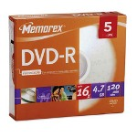 Memorex DVD-R, 16X, 4.7GB, Branded with Slim Jewel Case