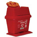 Unimed-Midwest Red Portable Sharps Container with Hinged Top, 2 Liter
