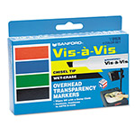 Expo® Vis-à-Vis Wet-Erase Marker, Chisel Point, Assorted, 4/Set