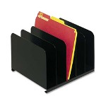 "Vertical Organizer, 5 Compartment, 12"" x 11"" x 8-1/8"", Black"