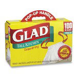 Glad Yellow Drawstring Trash Bags, 13 Gallon, 9 Mil, Box of 100