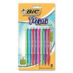 Bic Mechanical Pencils, Mini, .7mm w/ 3 Leads, 8/PK, Assorted