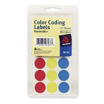 "Avery Round Coding Labels, 3/4"" meter, 306 per Pack, Assorted"