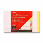 "Mead Index Cards, Ruled, 3""x5"", 100 Count, Assorted"