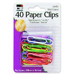 Charles Leonard Paper Clips, Jumbo, Vinyl Coated, 40/PK, Assorted