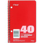"Mead Assignment Book, Spiralbound, 2HP, 7-1/2"" x 5"" 40 Sheets, Assorted"