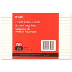 "Mead Index Card, Ruled, 50 Sheets, 4""x6"", White"