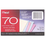 "Mead Index Cards, Ruled, 70 Sheets, 3""x5"", Assorted"