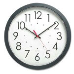 "Chicago Lighthouse Electric Wall Clock, 2"" deep x 14-1/2"" diameter, Black Body"