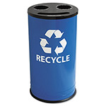 Ex-Cell Metal Blue Recycling Container, 14 Gallon