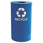 Ex-Cell Metal Blue Recycling Bin, 33 Gallon