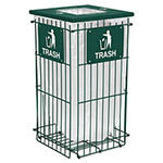 Ex-Cell Metal Clean Grid Fully Collapsible Waste Receptacle, Square Top, 45gal, Hunter Green