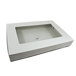 "Honeymoon Paper Wax Coated Baker's Tray, 26 1/4""x18 1/4""x3"", White"