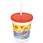 Fabri-Kal Kids Cups, Polypropylene, Cold, 13 1/6oz, White, Outdoor Sports Print, 500/ct