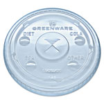 Fabri-Kal Greenware Cold Drink Lids, Fits 9, 12, 20 oz Cups, Clear, 1000/Carton