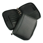 Franklin Covey Spacemaker Leather Looseleaf Zippered Organizer, 7 Rings, 5-1/2 x 8-1/2, Black
