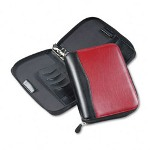"Franklin Covey Red/Black Spacemaker Zippered Vinyl 7-Ring Organizer, 5 1/2"" x 8 1/2"""
