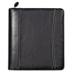 Franklin Covey Nappa Leather Ring Bound Organizer w/Zipper, 11-1/4 x 12 1/2, Black