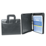 Franklin Covey Day Planner Deluxe Starter Set, Sierra Simulated Leather Binder, 8 1/2x11, Black