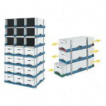 Fellowes Stax Cubes with Recycled Steel Frame, Letter/Legal Size, White/Blue, 6/Carton