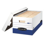 "Fellowes White and Blue Storage Box with Locking Lid, 750 Weight Cap, 12"" x 24"" x 10"""