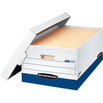 "Fellowes White and Blue Storage Box with Locking Lid, 800 Weight Cap. 12"" x 15"" x 10"""