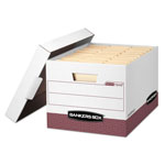 Fellowes Storage Box, 12 x 10 x 15, Letter/Legal Size, White/Red, 12/Ct