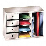 Fellowes Office Organizer for Binders with 4 Sorters and 4 Drawers, Dove Gray