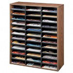 Fellowes Literature Organizer, Laminate Shell, 36 Letter Size Comp, Medium Oak