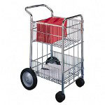 Fellowes Wire Mail Cart, 75 Folder Capacity, 18wx39 1/4hx26 1/2d, Chrome Plated