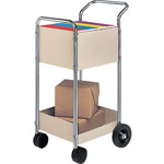 Fellowes Steel Mail Cart, 75 Folder Capacity, 16 1/4wx39 1/4hx26d, Dove Gray
