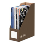 Fellowes Decorative Magazine File, 1 Pocket, 4w x 9d x 11 1/2h, Mocha Brown
