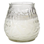 "Fancy Heat Victorian Filled Glass Candles, Clear, 60 Hour Burn, 3 3/4""High, 12/Carton"