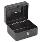 "Fireking Locking Coin/Stamp Box, 6"" x 4-5/8"" x 3"", Black/Silver"
