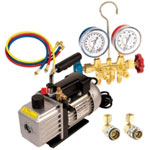FJC Vacuum Pump and Manifold Gauge Kit, for R134a, with 6909 Vacuum Pump and 6715 Manifold Gauge Set
