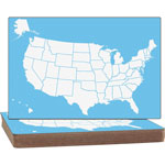 Flipside US Map Dry Erase Board, 2-Sided, 12/ST, White/Blue
