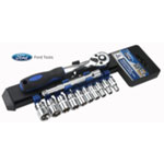"Ford Motor Company 12 Piece Ratchet And Socket Set, 1/4"" Metric"