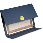 "First-Base Certificate Holder, Double-fold, Holds 8-1/2"" x 11, 5/PK, Blue"