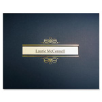 "First-Base Certificate Holder w/Window, 8-1/2"" x 11"", Navy/Gold"