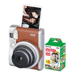 Fuji Instax Mini 90 Neo Classic Camera Bundle, Auto Focus, Brown