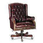 Fulmarque Traditional Wing Back Executive Swivel/Tilt Chair, Oxblood Vinyl Upholstery