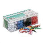 GBC® Vinyl Coated Wire Clips in Organizer Box, No. 1, Assorted Colors 800/Box