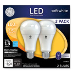 GE LED Soft White A21 Dimmable Light Bulb, 15W, 2/Pack