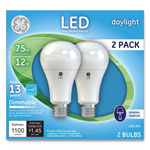 GE LED Daylight A21 Dimmable Light Bulb, 12W, 2/Pack