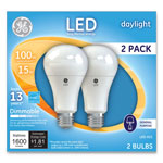 GE LED Daylight A21 Dimmable Light Bulb, 15W, 2/Pack