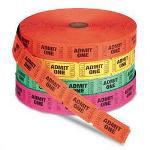 "Generations Consumer ""Admit One"" Single Ticket Roll, Numbered, Assorted, 2000 Tickets/Roll"